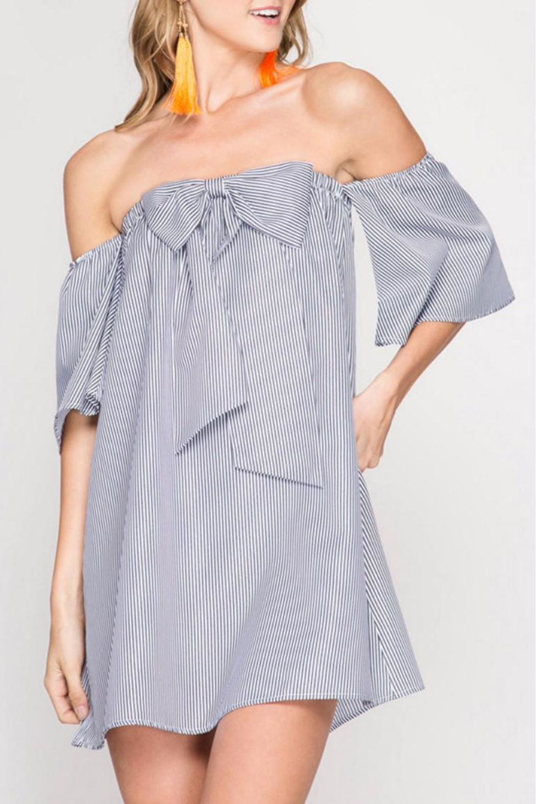 She + Sky Strapless Bow Front Dress - Main Image