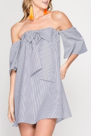 She + Sky Strapless Bow Front Dress - Front cropped