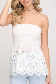 She + Sky Strapless Lace Top - Product Mini Image