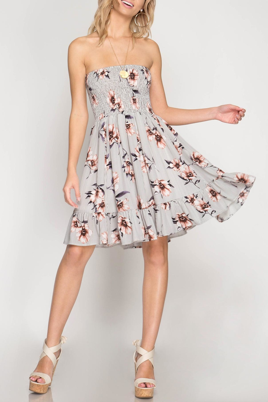 She + Sky Strapless Floral Dress - Front Cropped Image