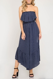She + Sky Strapless Striped Jumpsuit - Product Mini Image