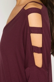 She + Sky Cut Out Shoulder Top - Back cropped