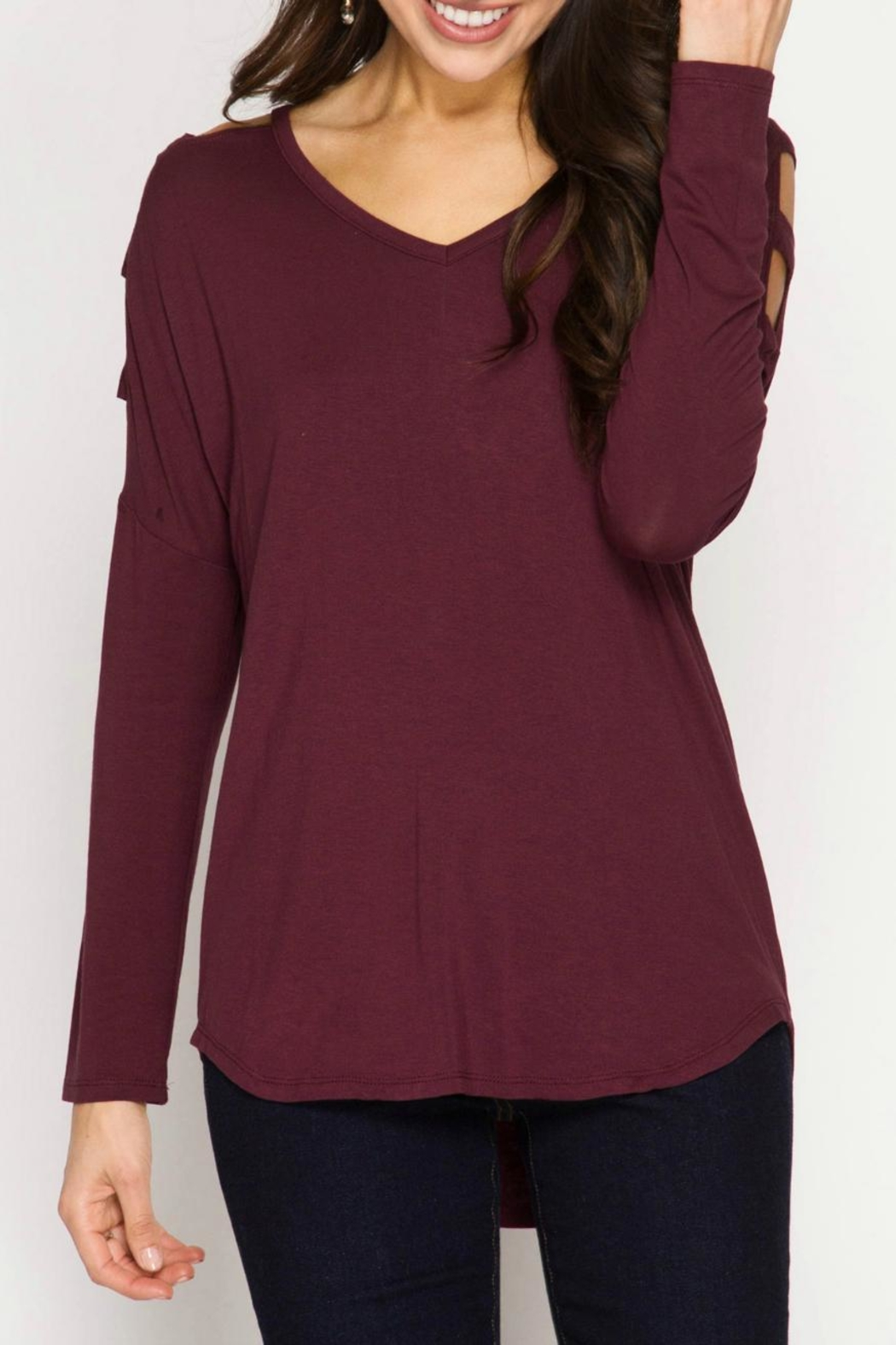 She + Sky Cut Out Shoulder Top - Side Cropped Image