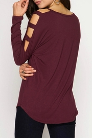 She + Sky Cut Out Shoulder Top - Front full body