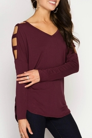 She + Sky Cut Out Shoulder Top - Front cropped