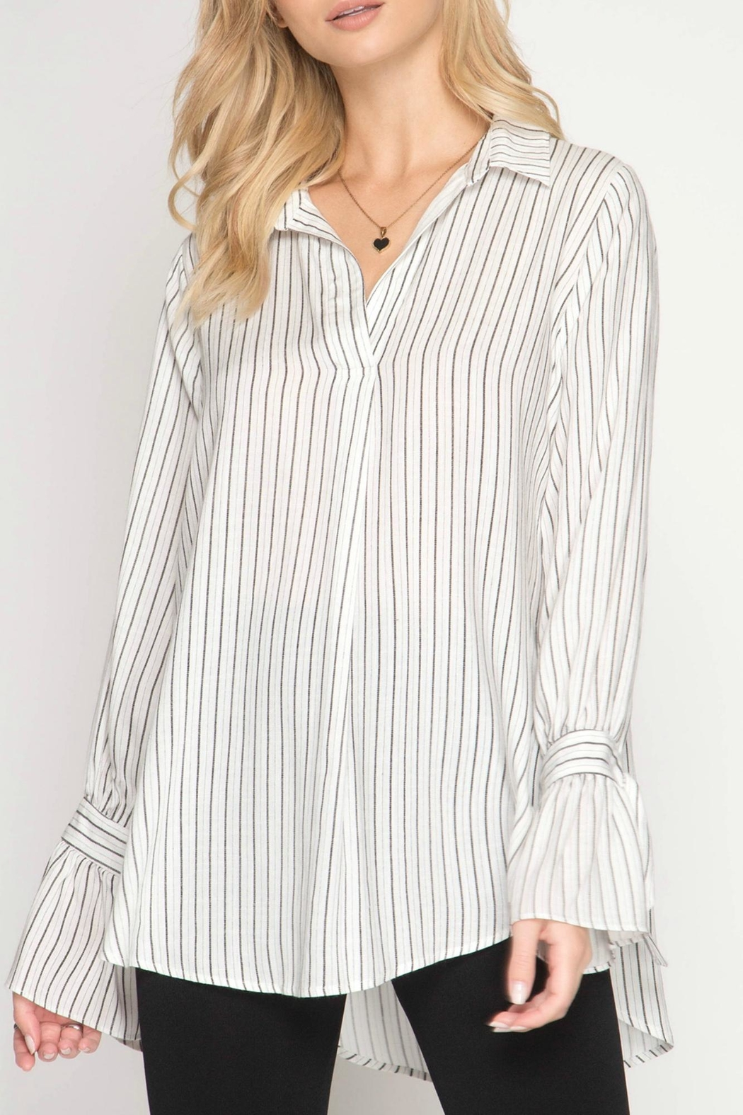 She + Sky Striped Blouse - Front Cropped Image