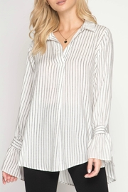She + Sky Striped Blouse - Product Mini Image