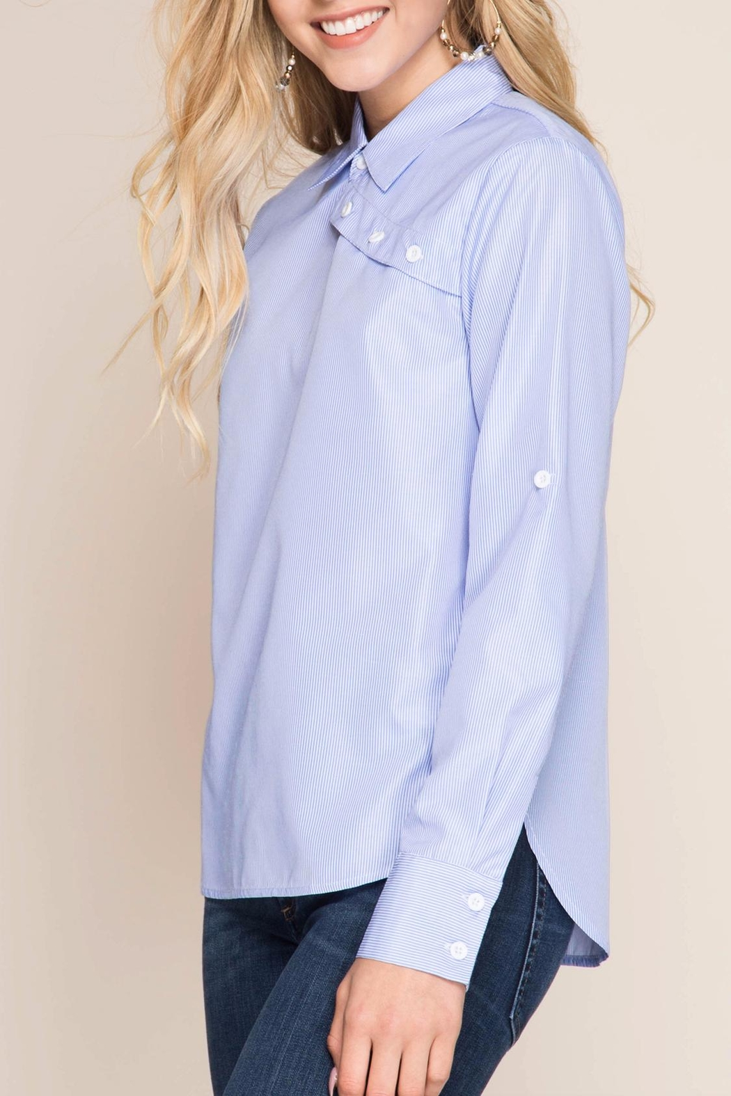 She + Sky Striped Button-Over Shirt - Back Cropped Image