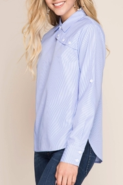 She + Sky Striped Button-Over Shirt - Back cropped