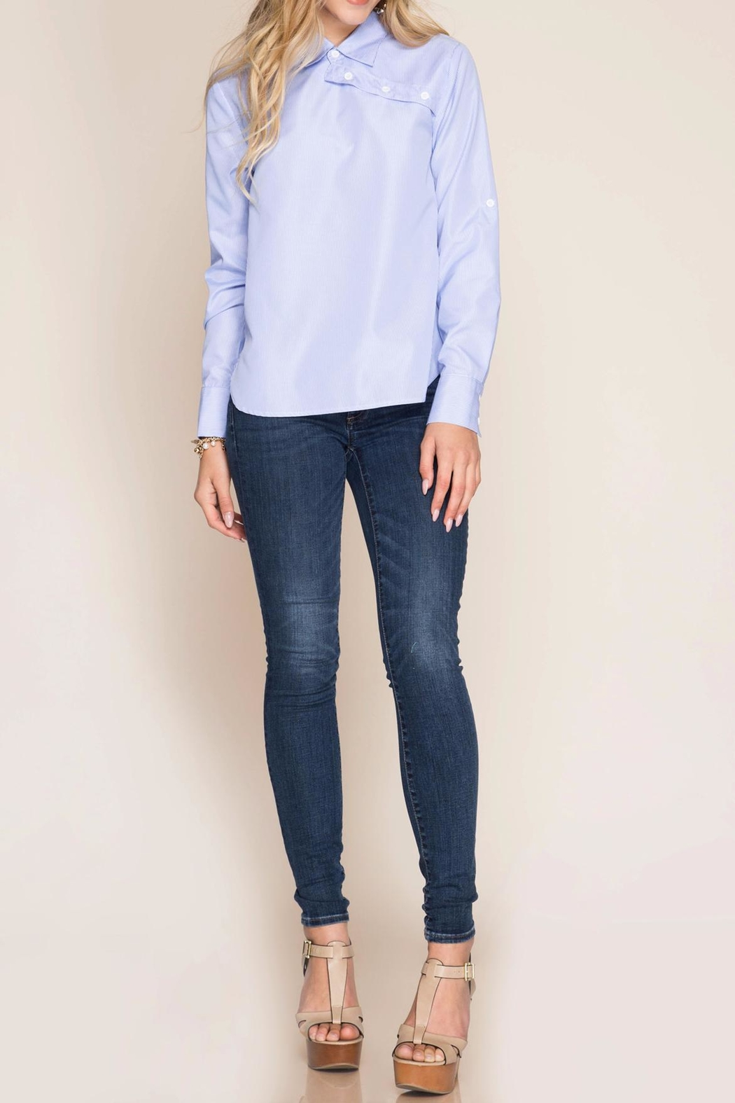 She + Sky Striped Button-Over Shirt - Front Full Image