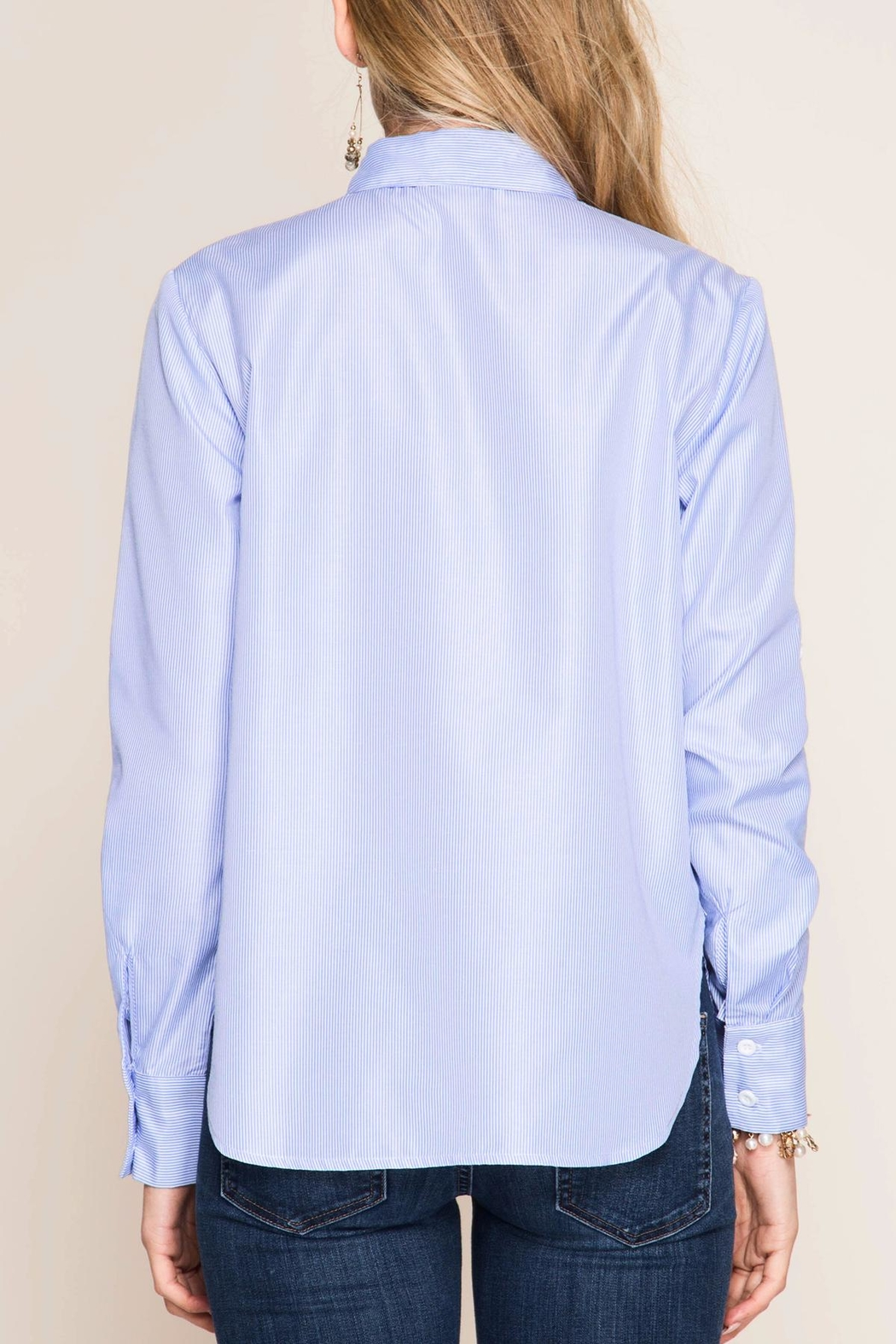 She + Sky Striped Button-Over Shirt - Side Cropped Image