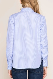 She + Sky Striped Button-Over Shirt - Side cropped