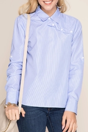 She + Sky Striped Button-Over Shirt - Front cropped