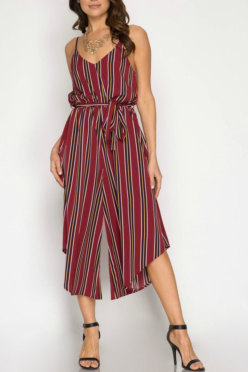 She + Sky Striped Cami Jumpsuit - Main Image