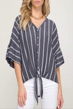 She + Sky Striped Front-Tie Top - Product List Image