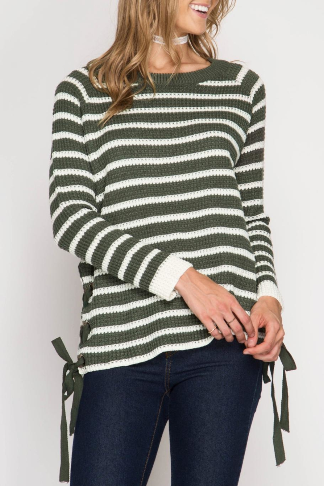 She + Sky Striped Lace Up Sweater - Main Image