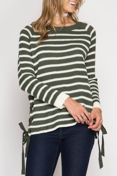Shoptiques Product: Striped Lace Up Sweater