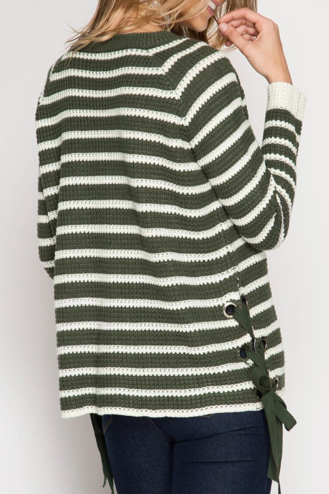 She + Sky Striped Lace Up Sweater - Front Full Image