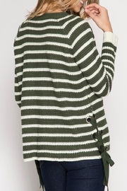 She + Sky Striped Lace Up Sweater - Front full body