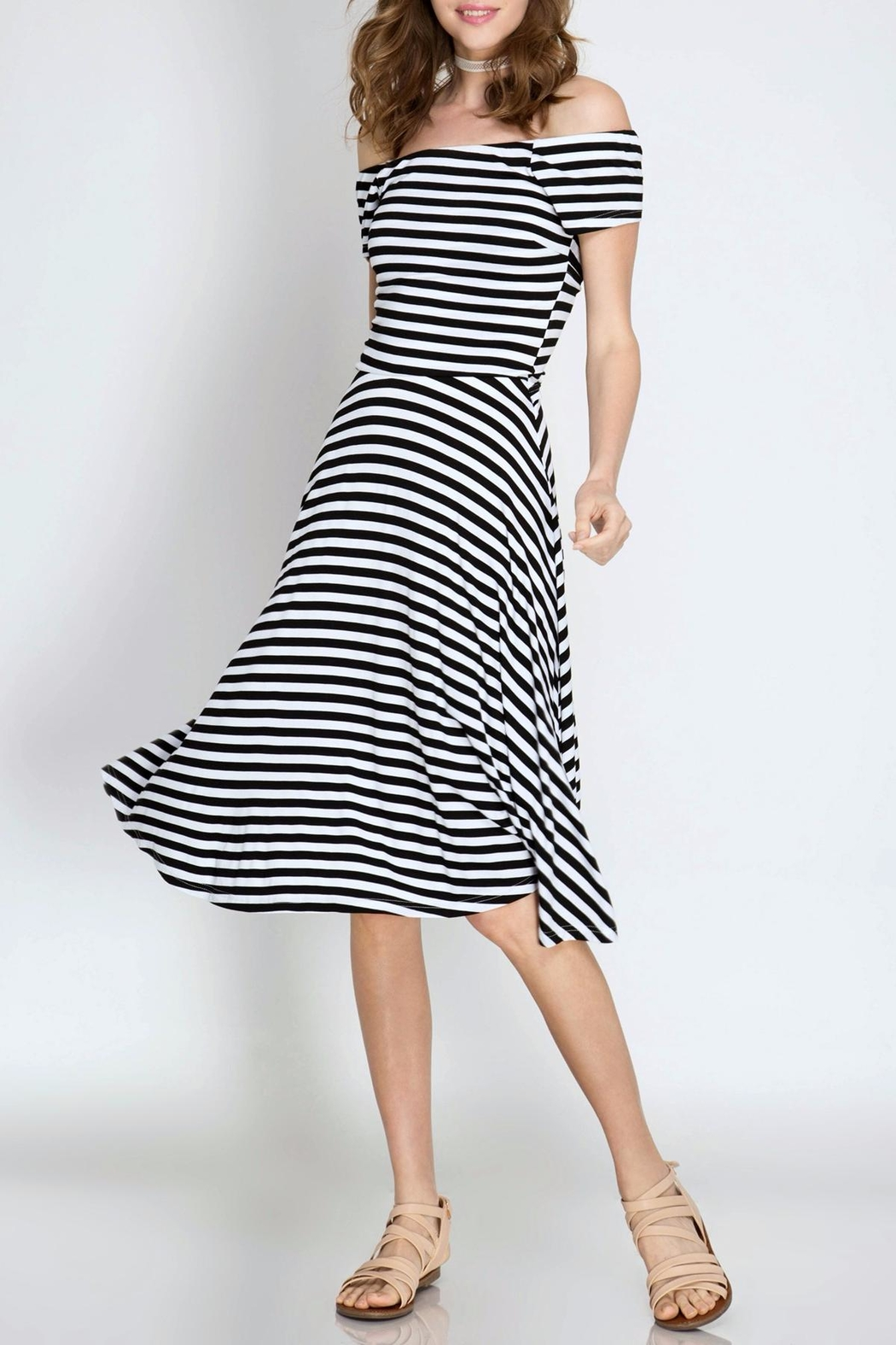 She + Sky Striped Midi Dress - Front Cropped Image