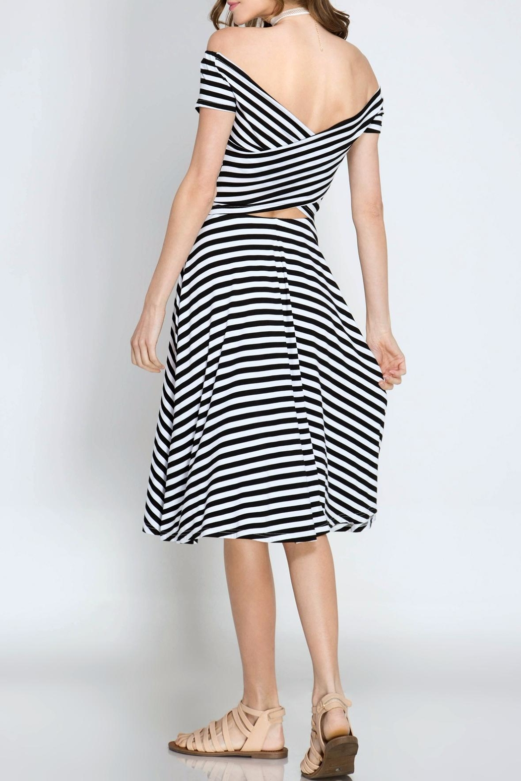 She + Sky Striped Midi Dress - Front Full Image