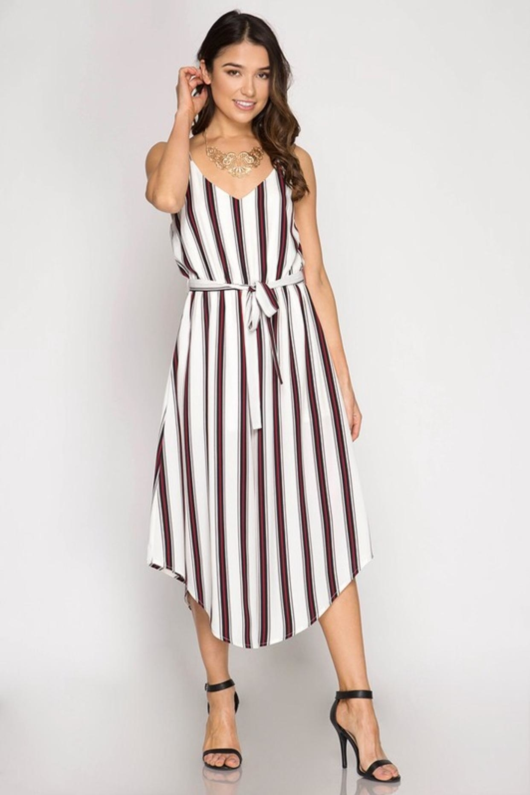 She + Sky Striped Midi Jumpsuit - Main Image