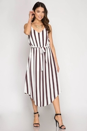 She + Sky Striped Midi Jumpsuit - Front cropped