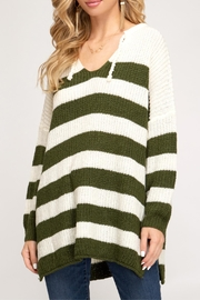 She + Sky Striped Pullover Sweater - Front full body
