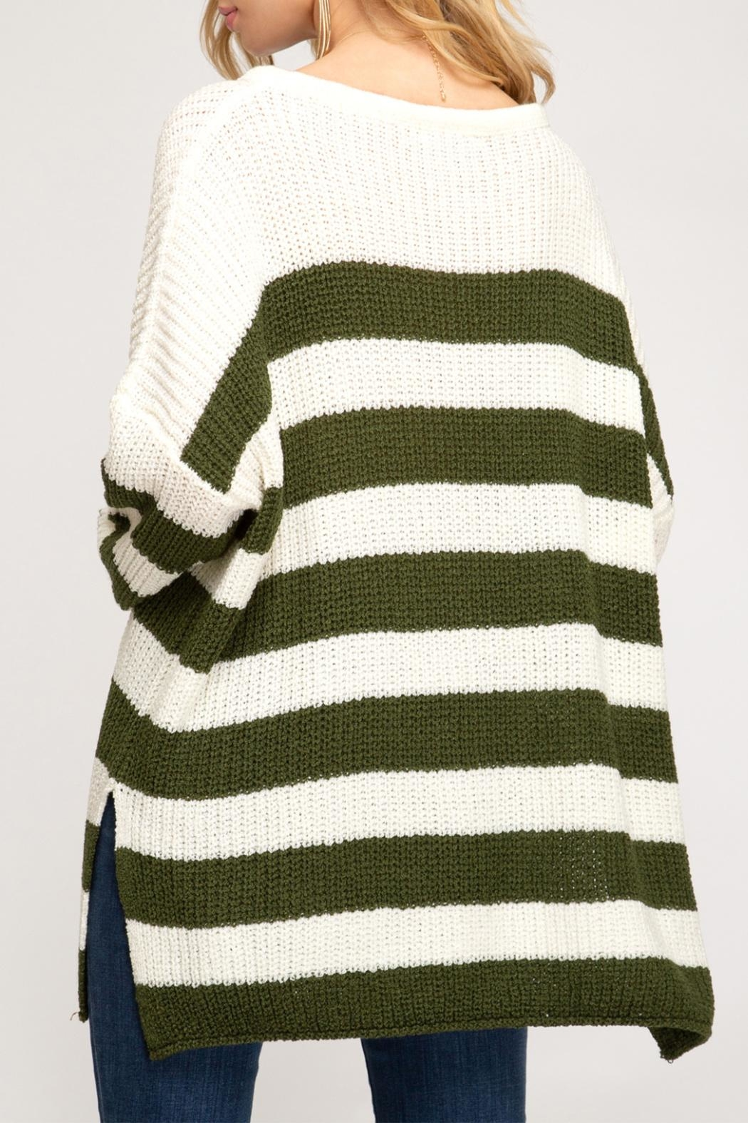 She + Sky Striped Pullover Sweater - Back Cropped Image