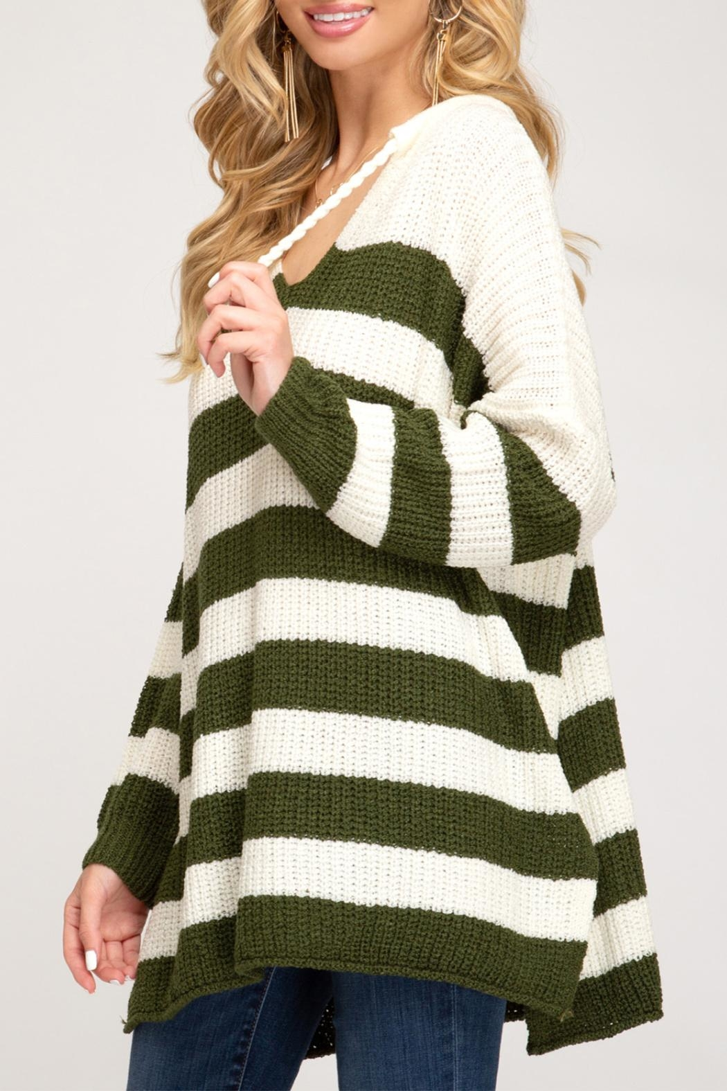 She + Sky Striped Pullover Sweater - Side Cropped Image
