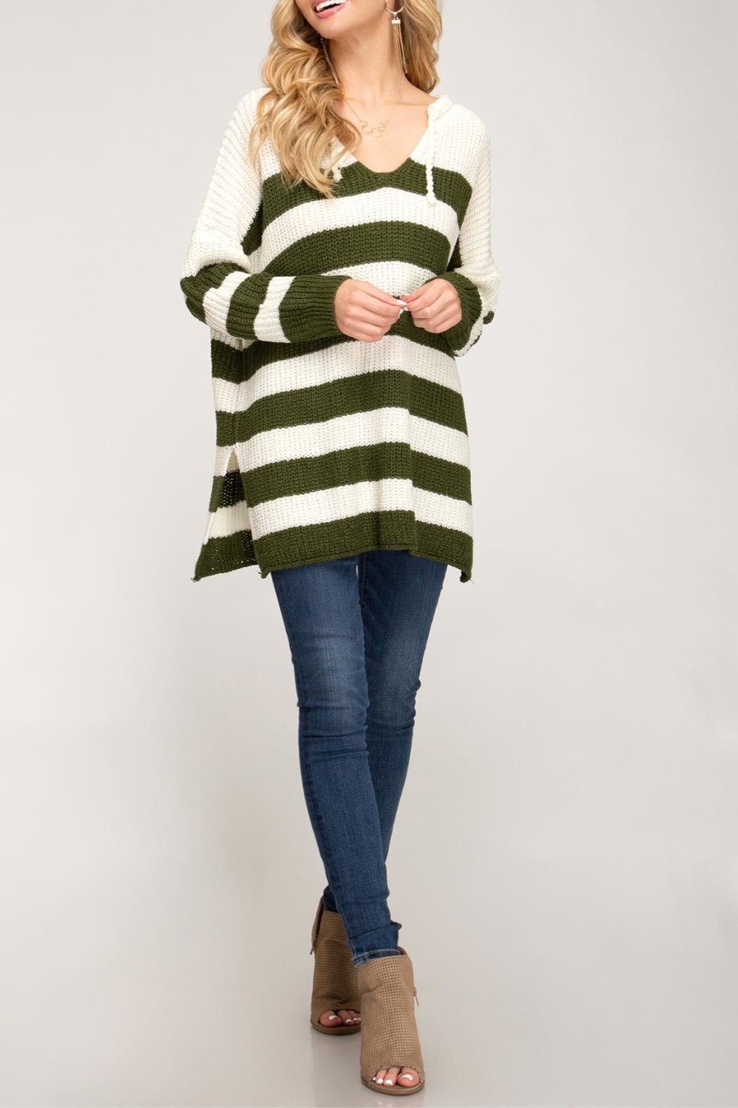 She + Sky Striped Pullover Sweater - Main Image