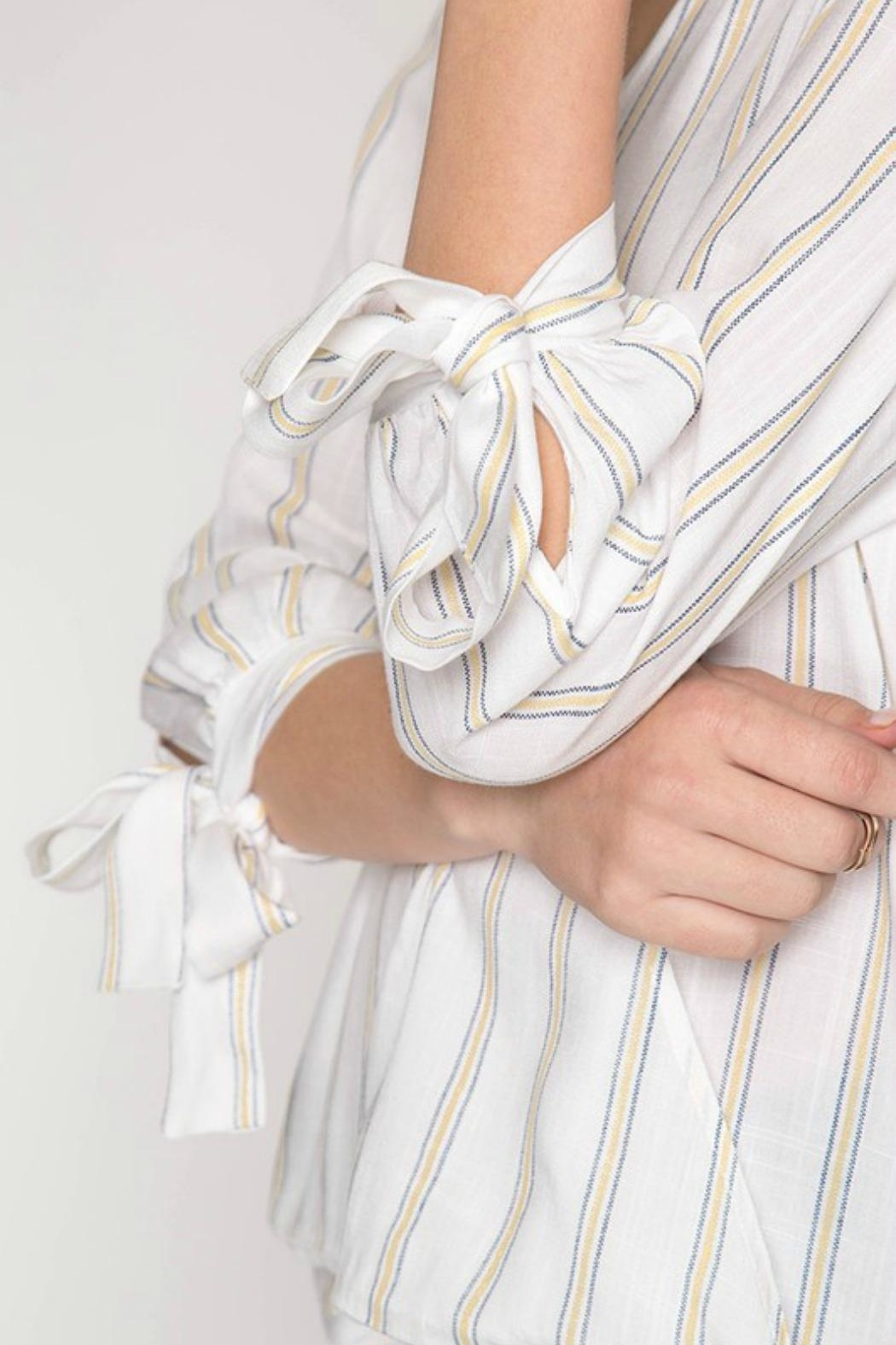 She + Sky Striped Surplice Top - Side Cropped Image