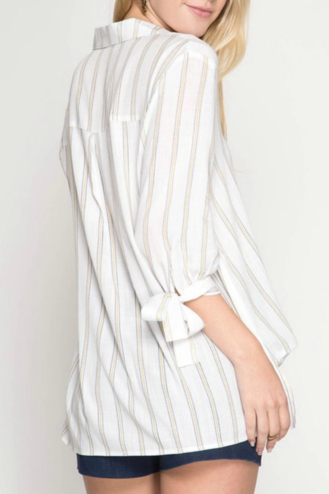 She + Sky Striped Surplice Top - Front Full Image