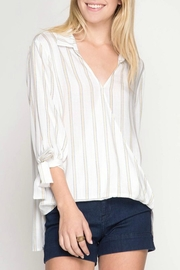 She + Sky Striped Surplice Top - Product Mini Image