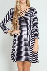 She + Sky Striped Swing Dress - Front cropped