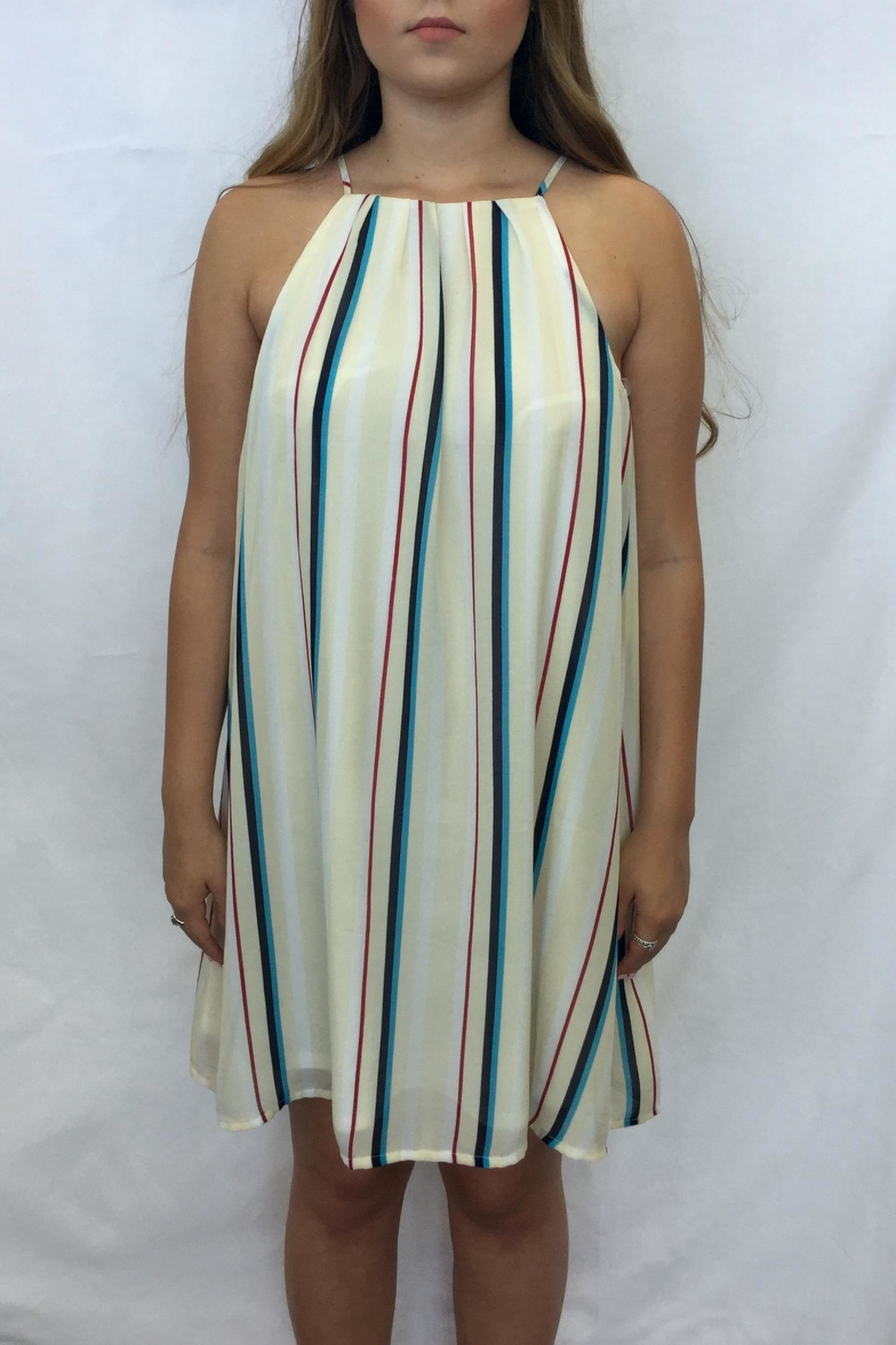 She + Sky Striped Tank Dress - Front Cropped Image