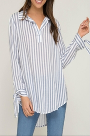 She + Sky Striped Tie-Sleeve Top - Product Mini Image