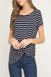 She + Sky Striped Twist Top - Product Mini Image