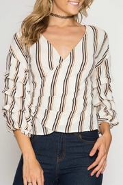 She + Sky Striped Wrap Blouse - Product Mini Image