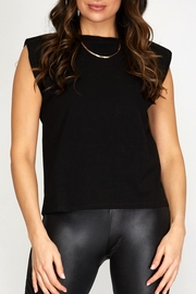 She + Sky Strong Shoulder Tank - Front cropped