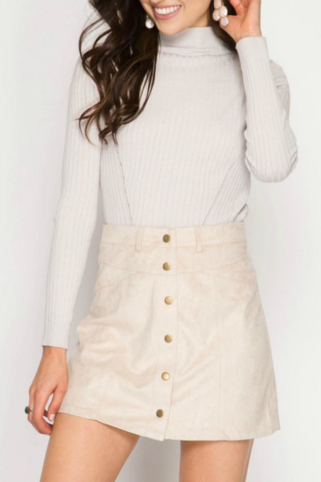 She + Sky Suede Button Skirt - Main Image