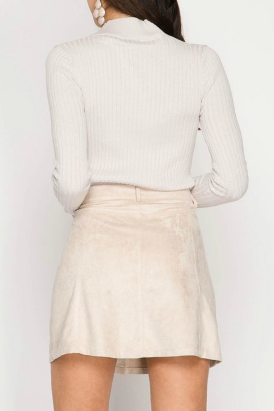 She + Sky Suede Button Skirt - Front Full Image