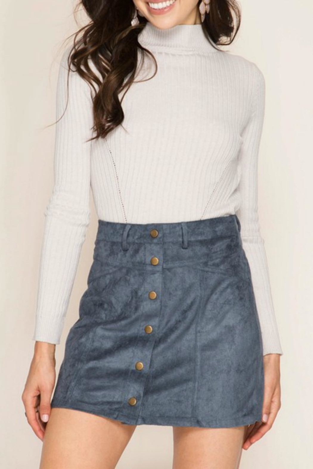 She + Sky Suede Button Skirt - Front Cropped Image