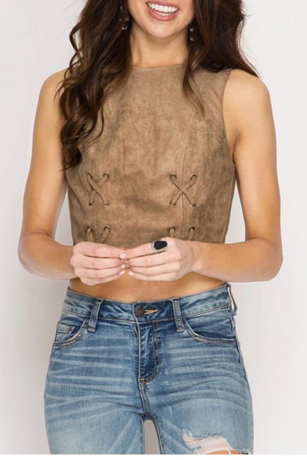 She + Sky Suede Crop Top - Front Cropped Image
