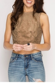 She + Sky Suede Crop Top - Front cropped