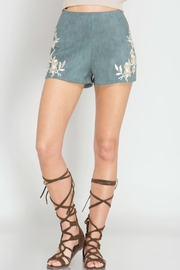 She + Sky Suede Emroidered Shorts - Side cropped