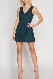 She + Sky Suede Flare Dress - Front cropped