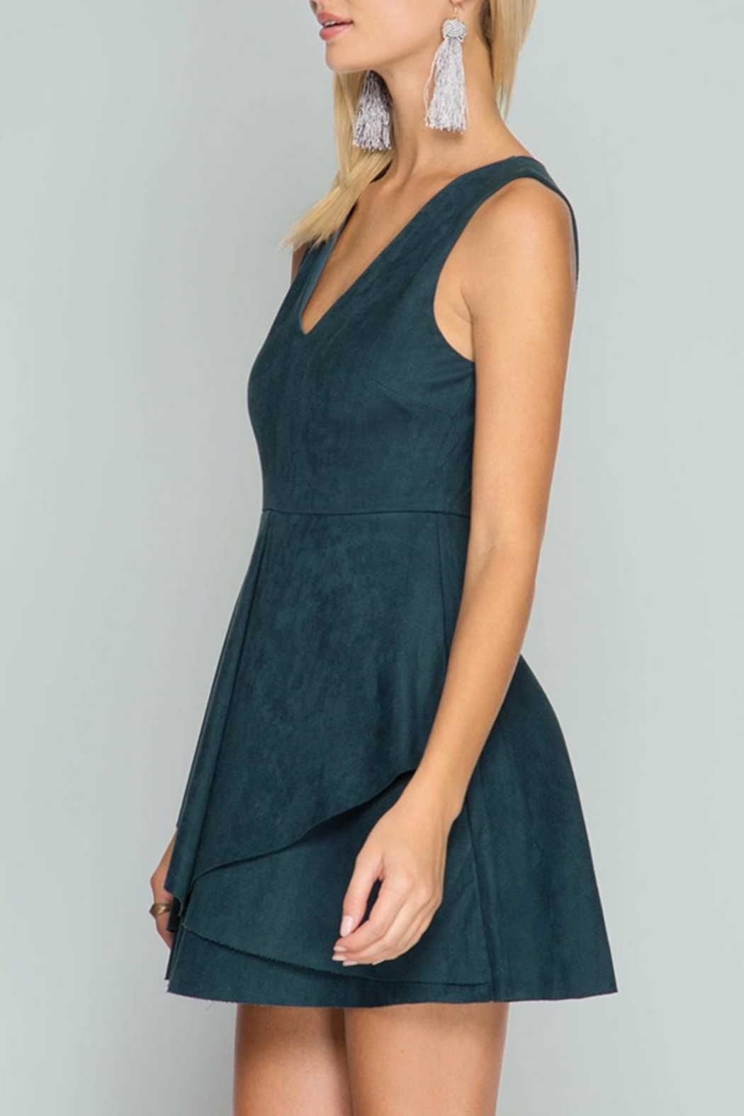 She + Sky Suede Flare Dress - Front Full Image