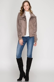 She + Sky Suede Fur Jacket - Front full body