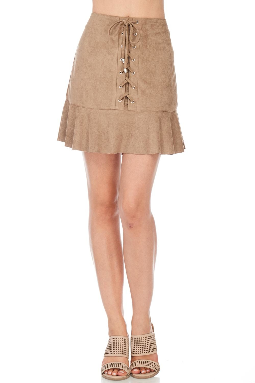 She + Sky Suede Lace Up Skirt - Main Image